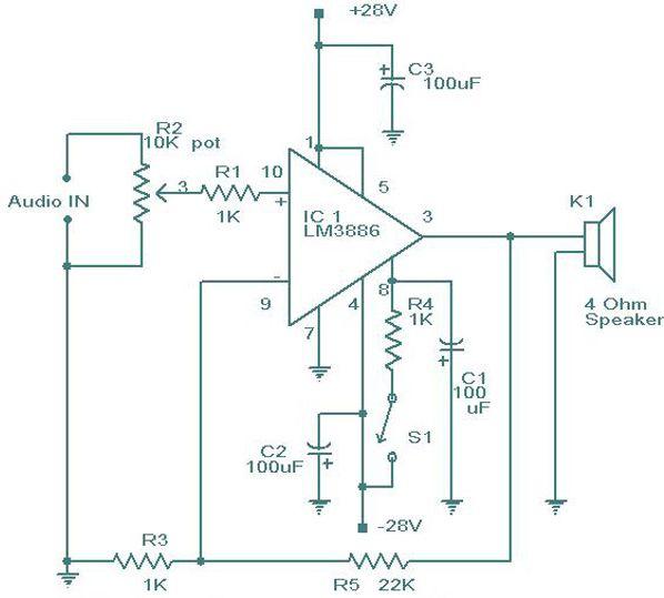 LM3886 Amplifier Circuit