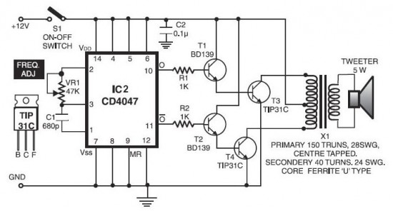 ultrasonic pest repellent circuit schematic