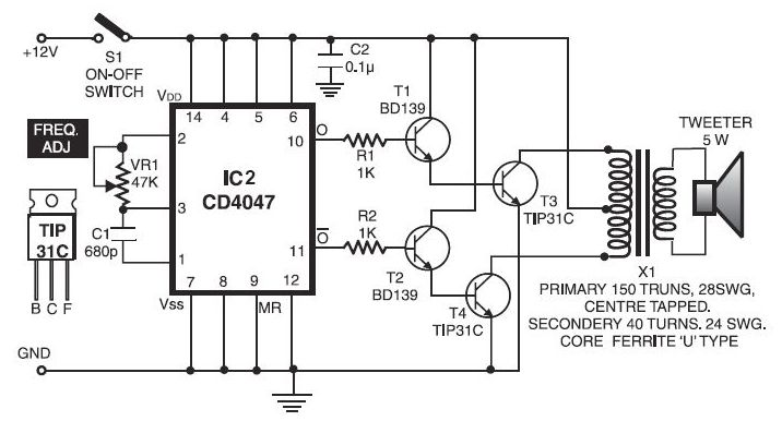 ultrasonic transmitter and receiver circuit