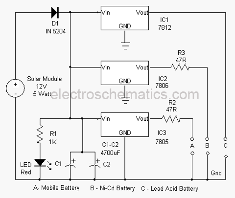 Basic Electrical Wiring Diagrams Lights Series Solar Based Multipurpose Charger Circuit