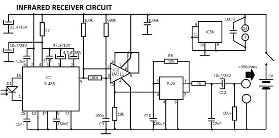 headphones infrared ir receiver circuit
