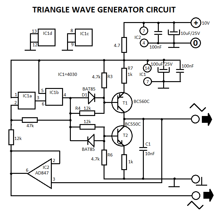 triangle waveform generator circuit diagram