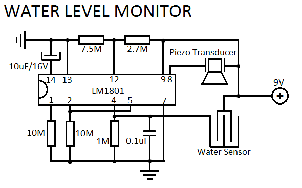 numeric water level indicator circuit