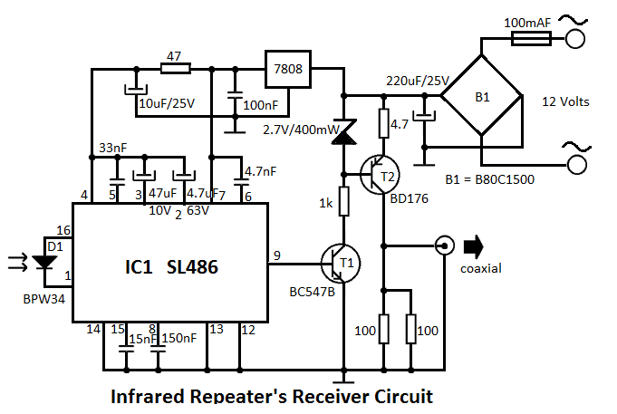 ir repeaters transmitter circuit schematic
