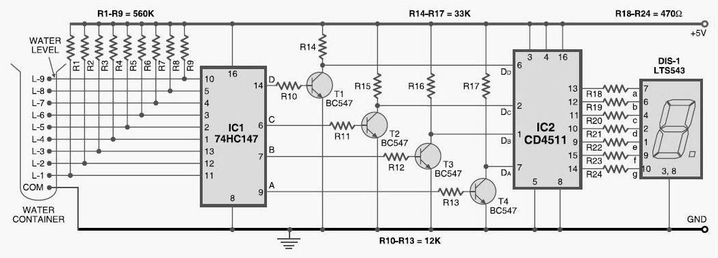 water level indicator circuit schematic
