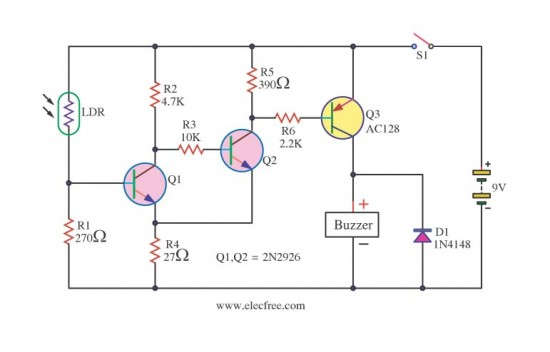 circuit light sensitive switch with ldr 2n2926
