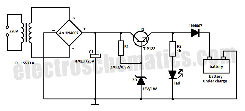 12 volts car battery charger circuit schematic diagram