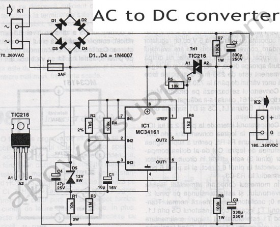 ac to dc power converter wiring diagram