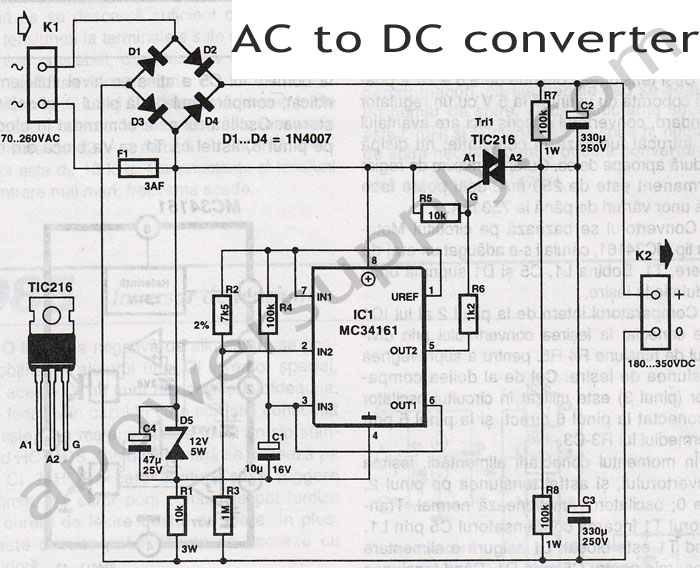 ac wiring diagram for 12v dc transformer