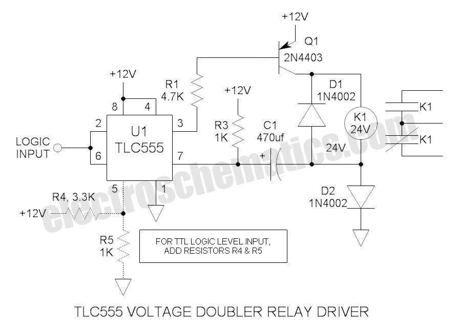 555 voltage doubler relay driver