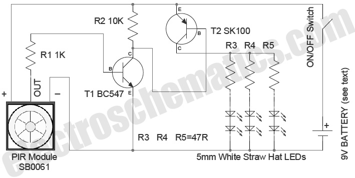 pir motion sensor switch circuit schematic