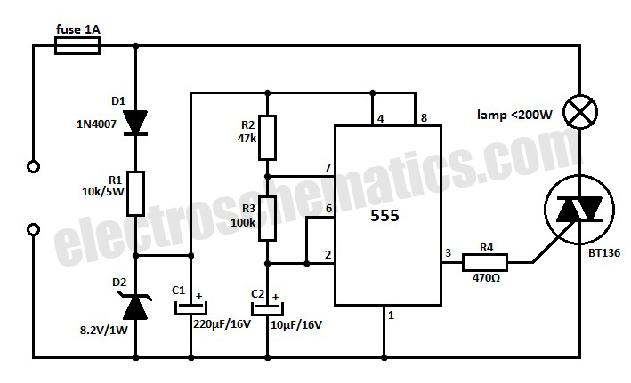 brightness control for small lamps by ic 555