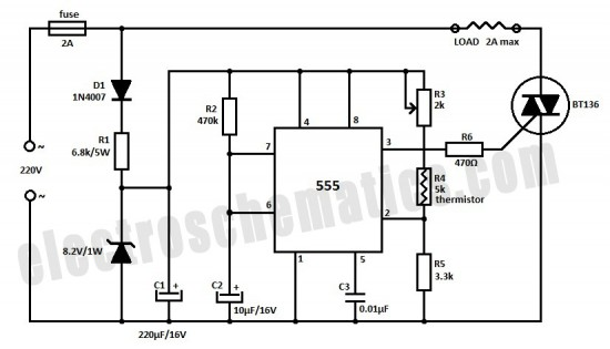 temperature control circuit with thermistor