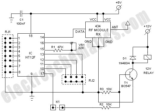 schematic circuit diagram of remote control