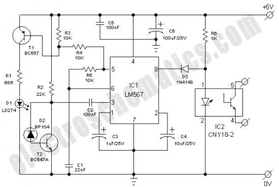infrared model train detector schematic