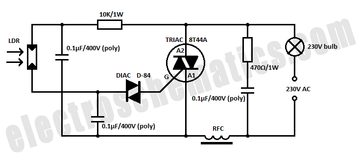 light operated relay circuit schematic