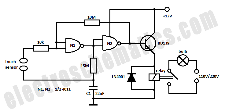 simple touch switch schematic using 4011