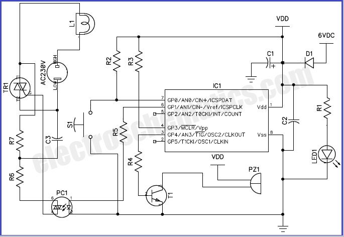 musical doorbell circuit with over door light