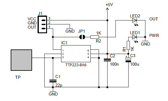 schematic of capacitance touch switch circuit