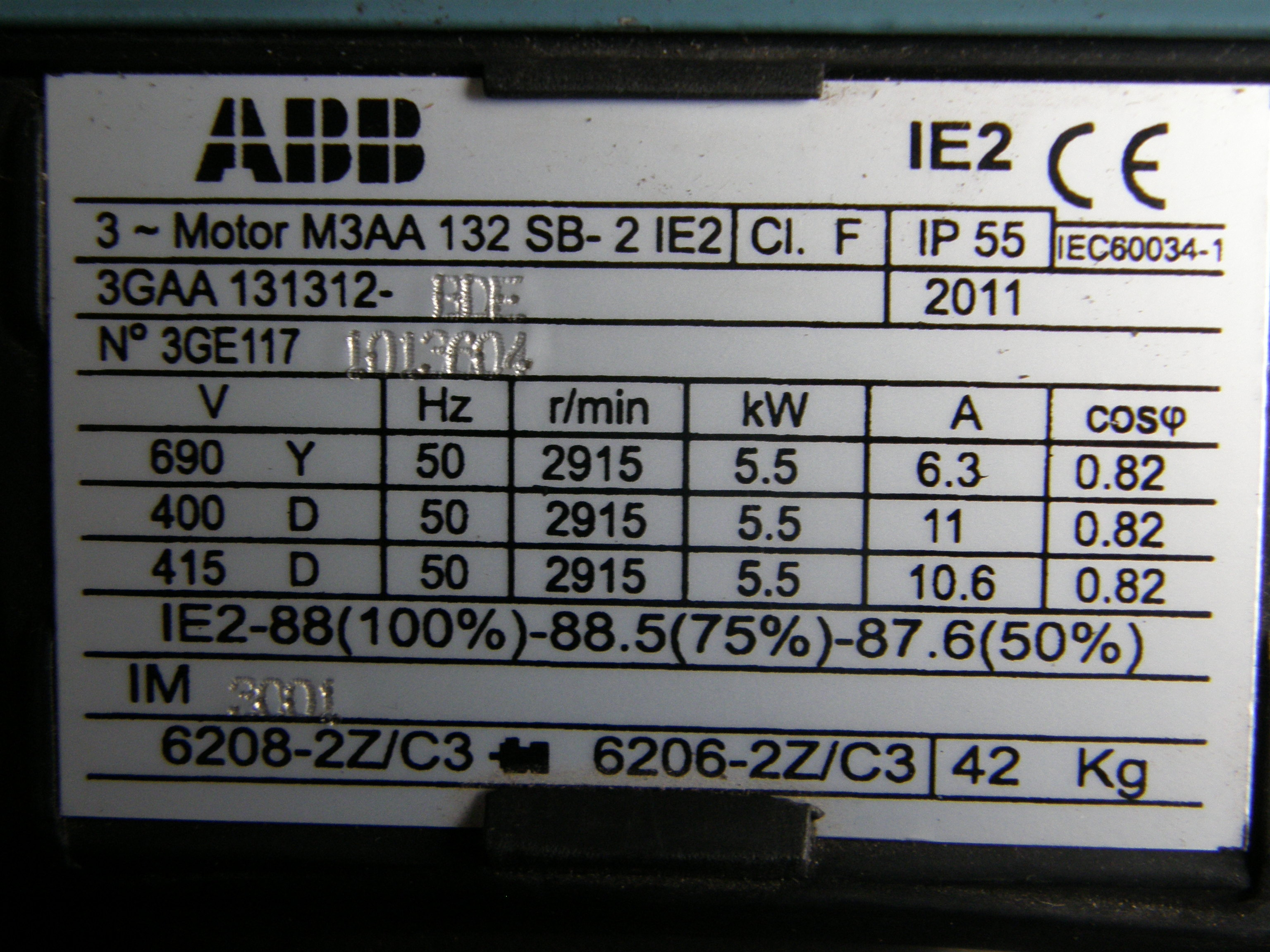 Phase Motor Wiring Diagram 5 5kw Abb Electric Motor 2800rpm 3 Phase 4 Pole 7 5hp Ie2