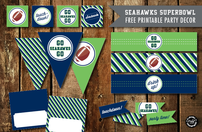 Superbowl Party Printables 2015 - Patriots vs Seahawks