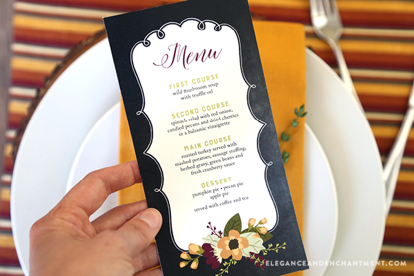 Printable Thanksgiving Menu Cards