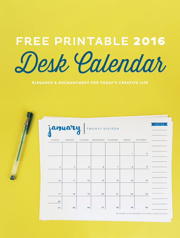 Free Printable 2016 Calendar - Elegance  Enchantment - free calendar printable