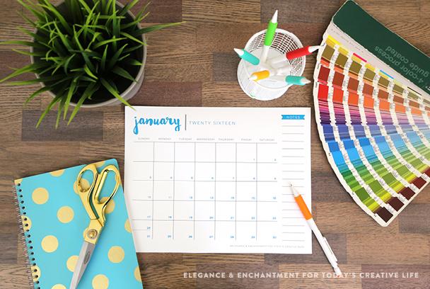 Free Printable 2016 Calendar - Elegance  Enchantment