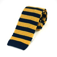 Broad Striped Navy Gold Silk Knitted Tie - Elegant Extras