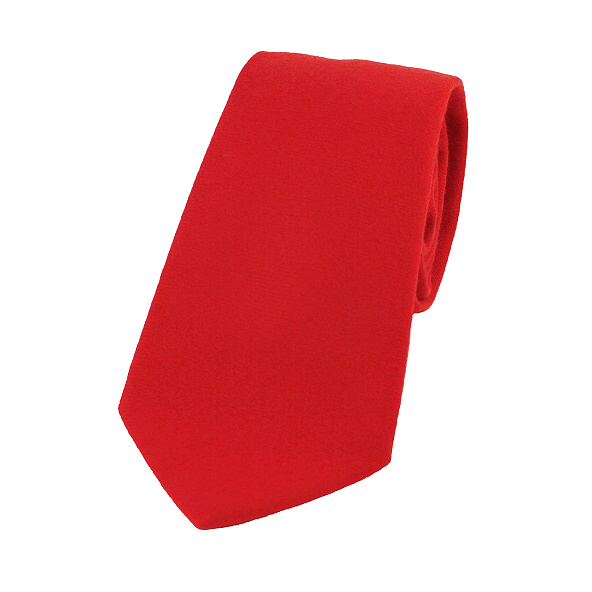 Plain Bright Red Wool Tie