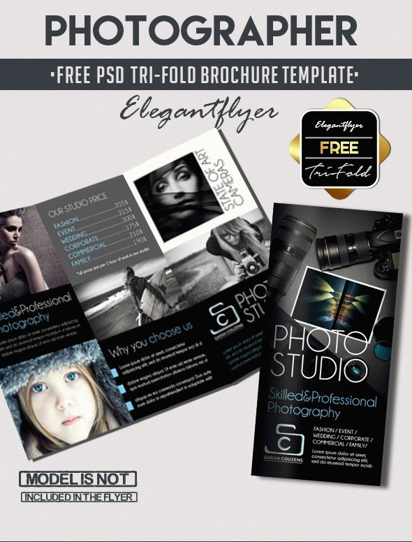 Photographer \u2013 Free Tri-Fold PSD Brochure Template \u2013 by ElegantFlyer - studio brochure
