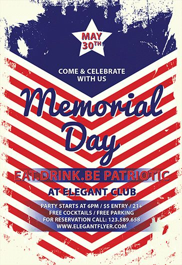 Happy Memorial Day Weekend PSD Flyer \u2013 by ElegantFlyer