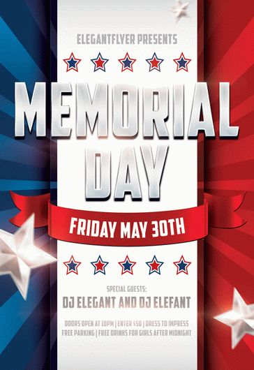 Memorial Day Design V02 \u2013 Flyer PSD Template \u2013 by ElegantFlyer
