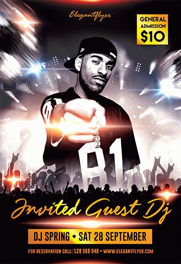 Invited Guest Dj \u2013 Free Flyer PSD Template \u2013 by ElegantFlyer