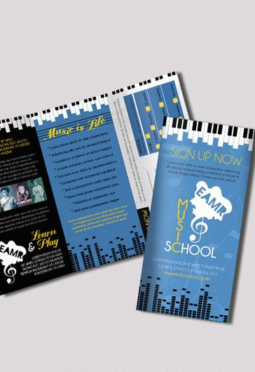 Tri-Fold Brochure for Music School \u2013 by ElegantFlyer