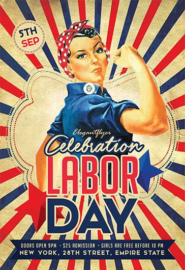 Labor Day Retro Flyer Template \u2013 by ElegantFlyer