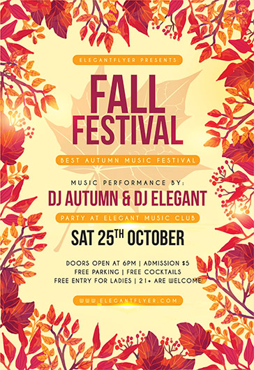 Fall Leaf Festival Poster \u2013 by ElegantFlyer - fall festival flyer ideas