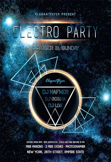 Electro party \u2013 Free Flyer PSD Template \u2013 by ElegantFlyer