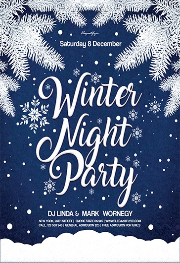 Winter Night Party \u2013 Flyer PSD Template \u2013 by ElegantFlyer