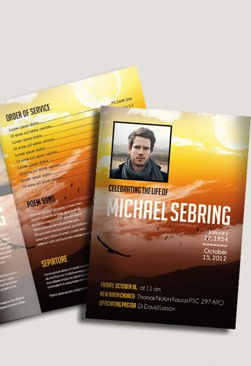 Free Funeral Programs Templates in PSD by ElegantFlyer - free template for funeral program