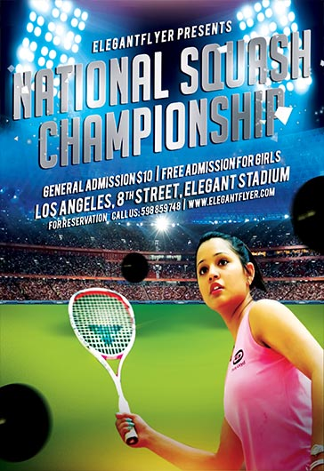 National Squash Championship \u2013 Flyer PSD Template \u2013 by ElegantFlyer - tennis flyers templates free