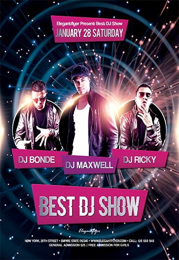 Best DJ Show \u2013 Free Flyer PSD Template \u2013 by ElegantFlyer