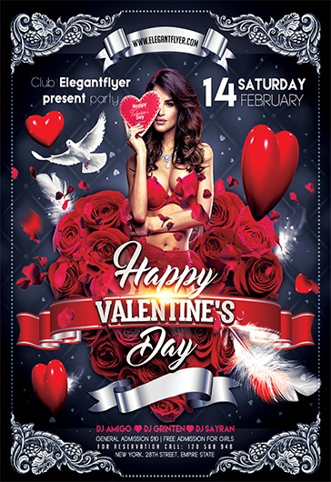 Happy Valentine\u0027s Day \u2013 Flyer PSD Template \u2013 by ElegantFlyer