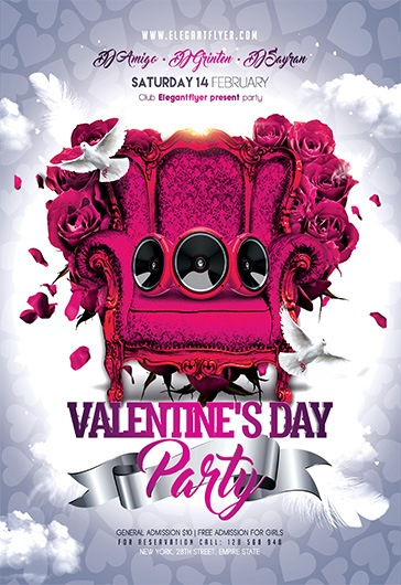 Valentine\u0027s Day Party \u2013 Flyer PSD Template \u2013 by ElegantFlyer