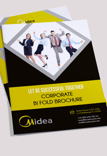 Corporate \u2013 Premium Bi-Fold PSD Brochure Template \u2013 by ElegantFlyer - Product Brochure Template