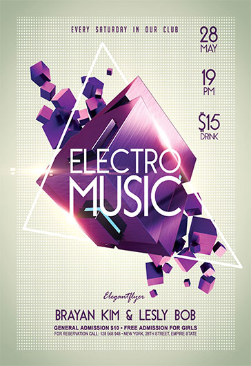 Electro Music V02 \u2013 Flyer PSD Template \u2013 by ElegantFlyer