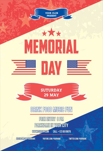 Memorial day V02 \u2013 Free Flyer PSD Template \u2013 by ElegantFlyer