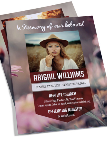 Designs Funeral Programs Bi-Fold Brochure \u2013 by ElegantFlyer