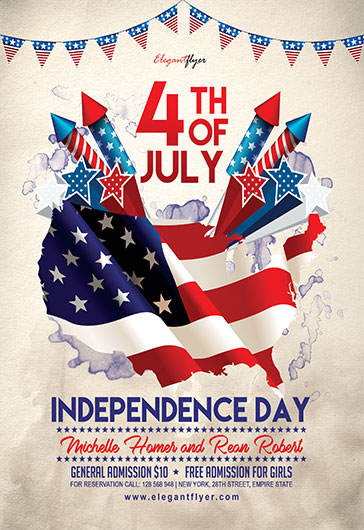 4th of July 2017 \u2013 Flyer PSD Template \u2013 by ElegantFlyer