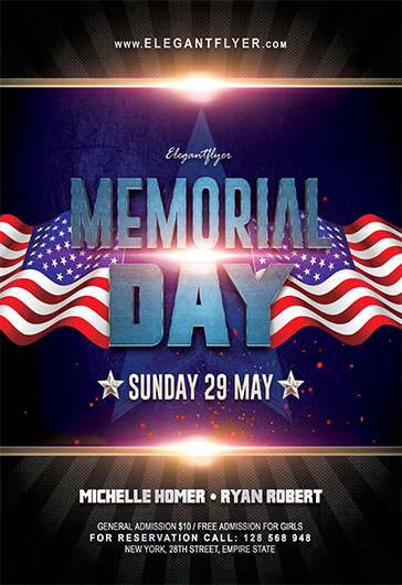 Memorial Day V03 \u2013 Flyer PSD Template \u2013 by ElegantFlyer
